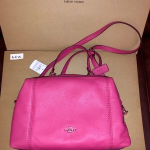 NWT Coach Pebble Leather Lenox Satchel Magenta